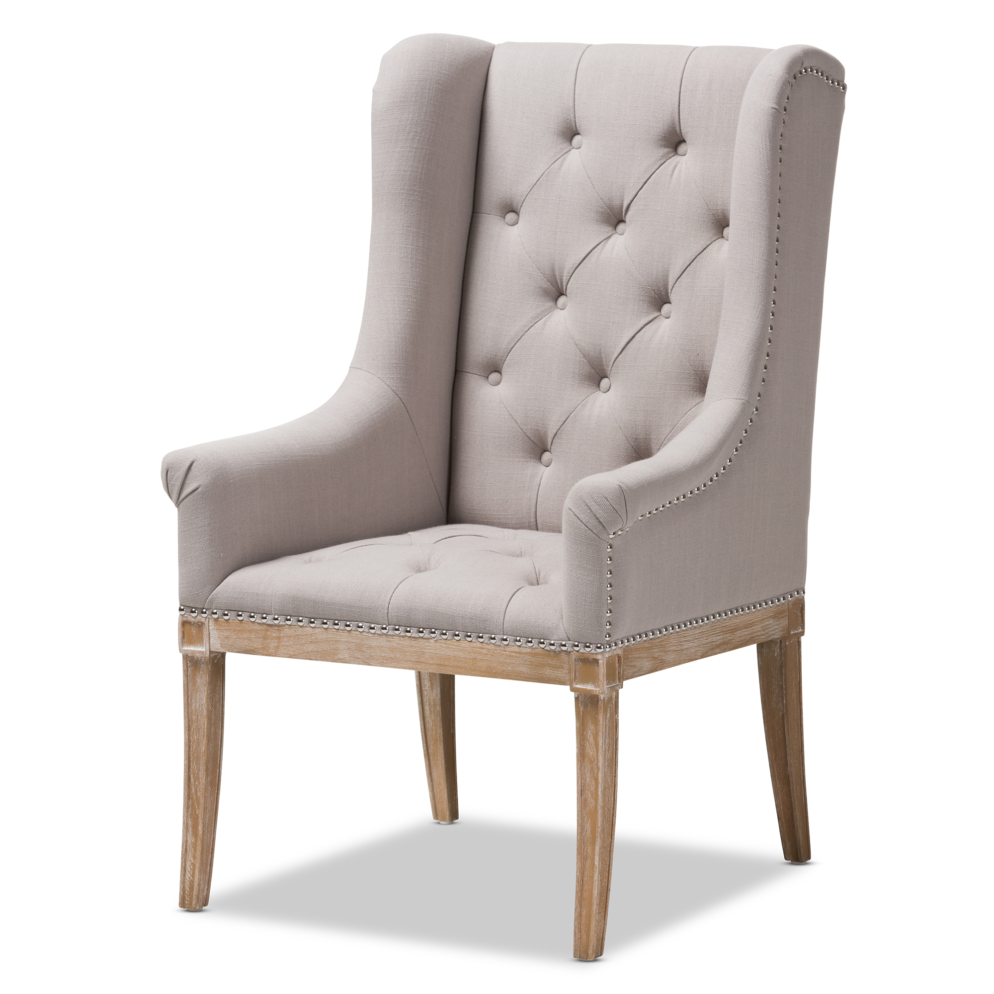 Baxton Studio Cedulie French Provincial Beige Fabric Upholstered  Whitewashed Oak Lounge Chair Affordable Modern Furniture In