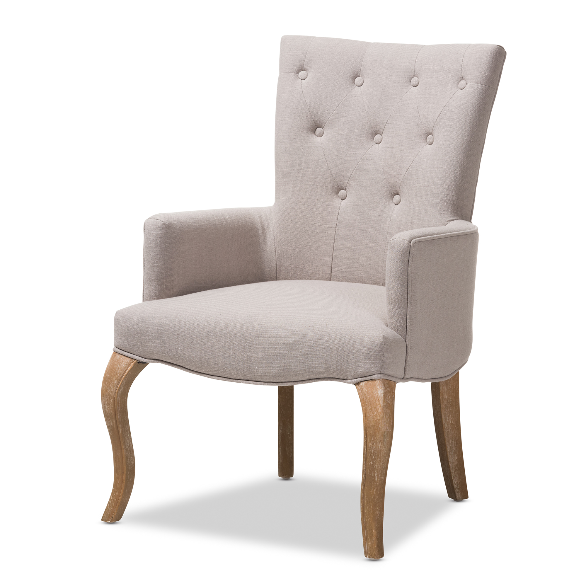 Baxton Studio Clotille French Provincial Beige Fabric Upholstered  Whitewashed Oak Lounge Chair