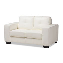 Baxton Studio Adalynn Modern and Contemporary White Faux Leather Upholstered Loveseat Affordable modern furniture in Chicago, classic living room furniture, modern sofa, cheap loveseat