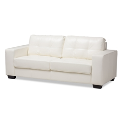 Baxton Studio Adalynn Modern and Contemporary White Faux Leather Upholstered Sofa Affordable modern furniture in Chicago, classic living room furniture, modern sofa, cheap sofa