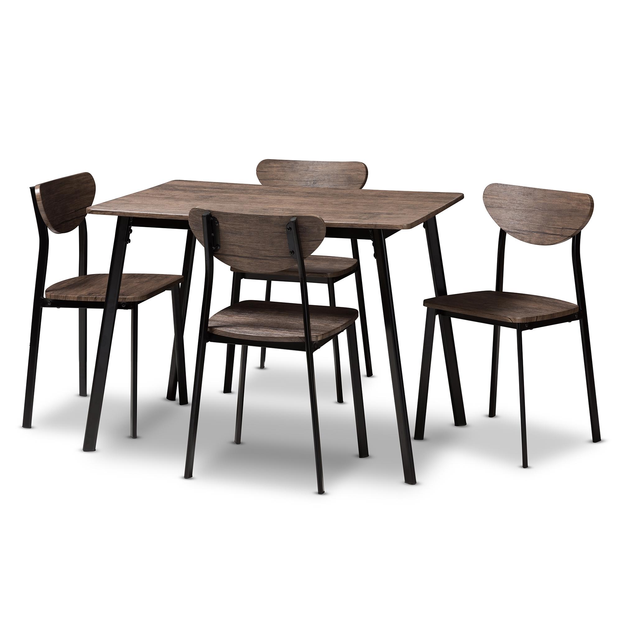 Baxton Studio Ornette Mid Century Modern Matte Black Frame 5 Piece Dining  Set Affordable