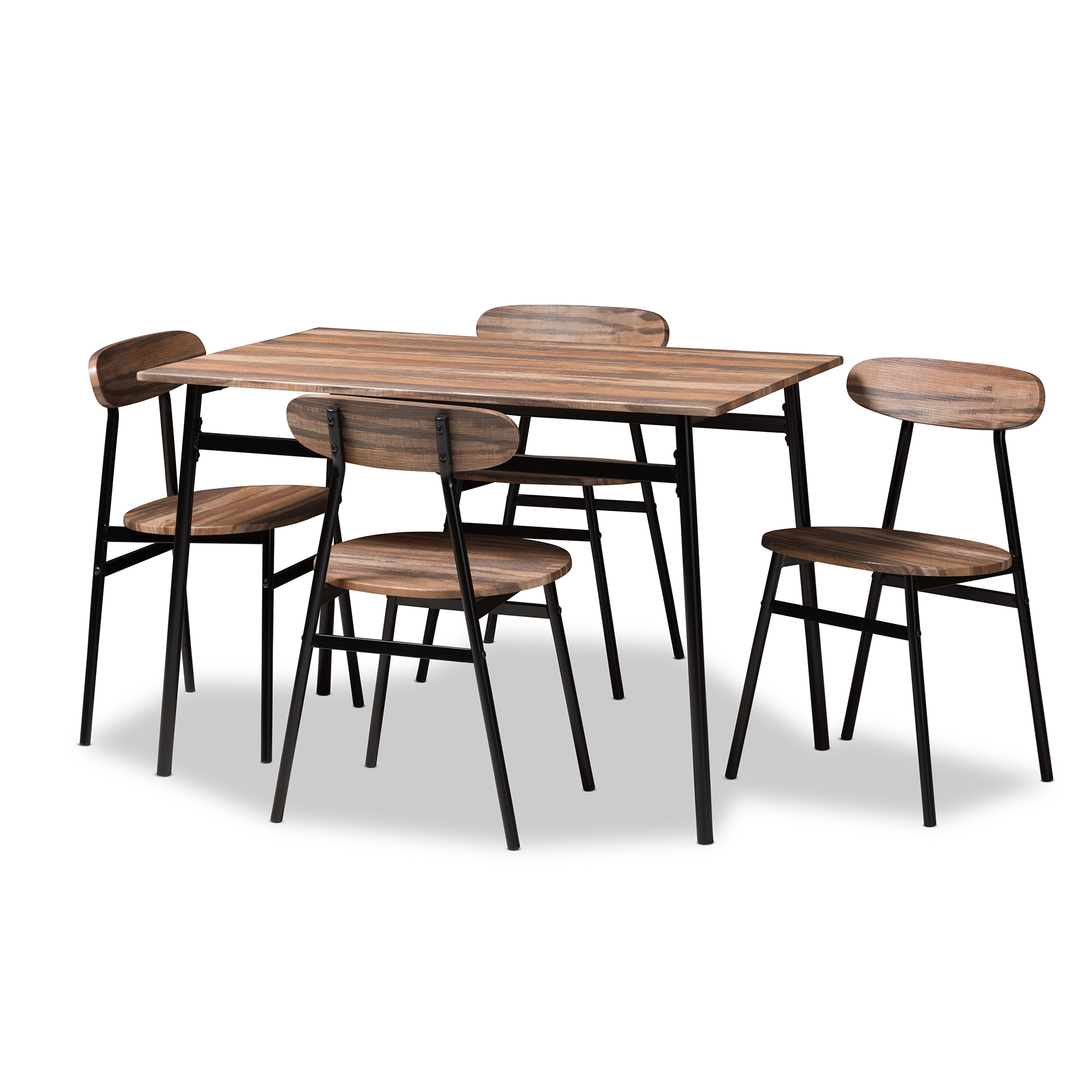 Baxton Studio Darcia Rustic And Industrial Brown Wood Finished Matte Black  Frame 5 Piece Dining Set