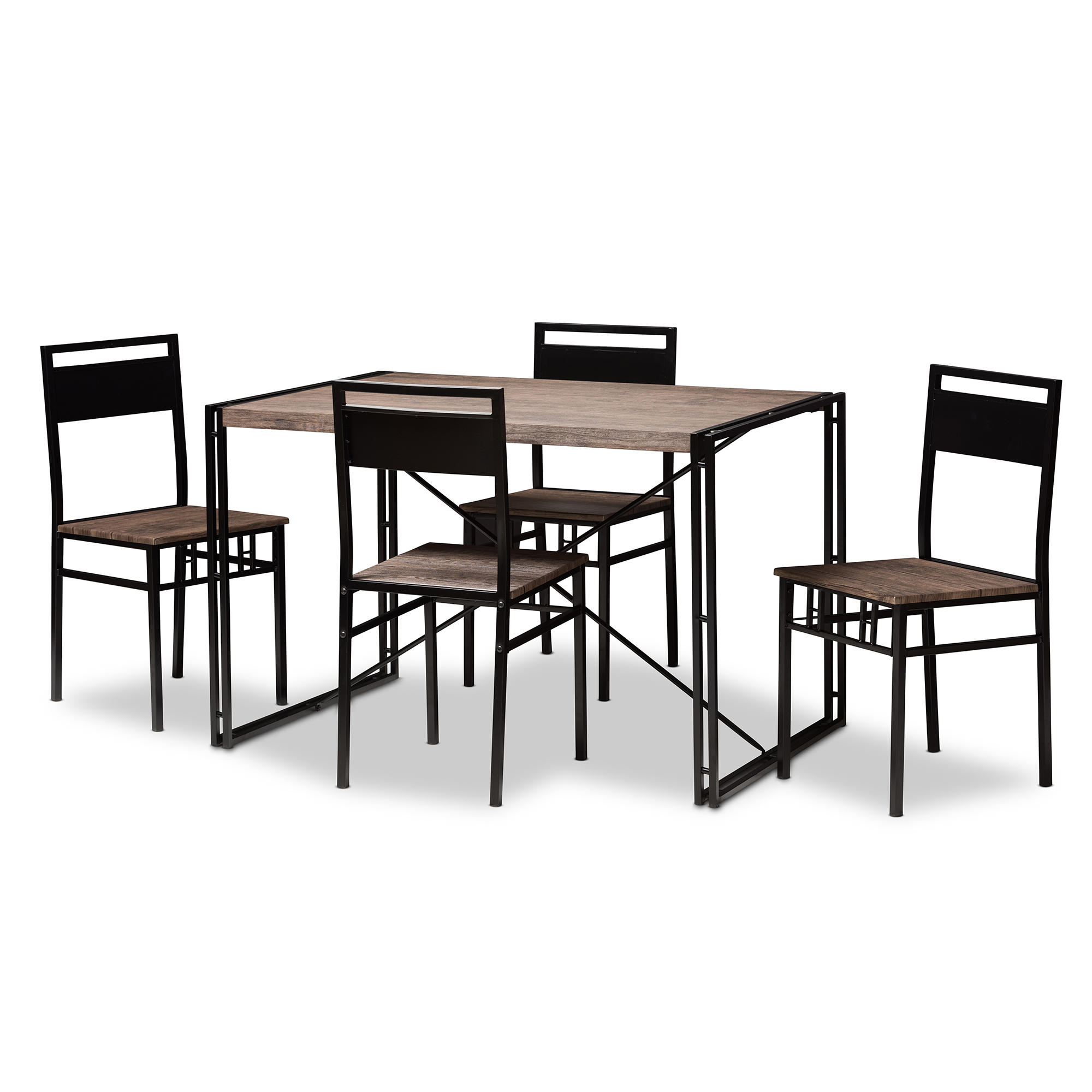 Baxton Studio Mamaine Rustic And Industrial Brown Wood Finished Matte Black  Frame 5 Piece Dining