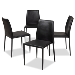 Baxton Studio Pascha Modern and Contemporary Black Faux Leather Upholstered Dining Chair (Set of 4) Affordable modern furniture in Chicago, classic dining furniture, modern chair, cheap dining chairs