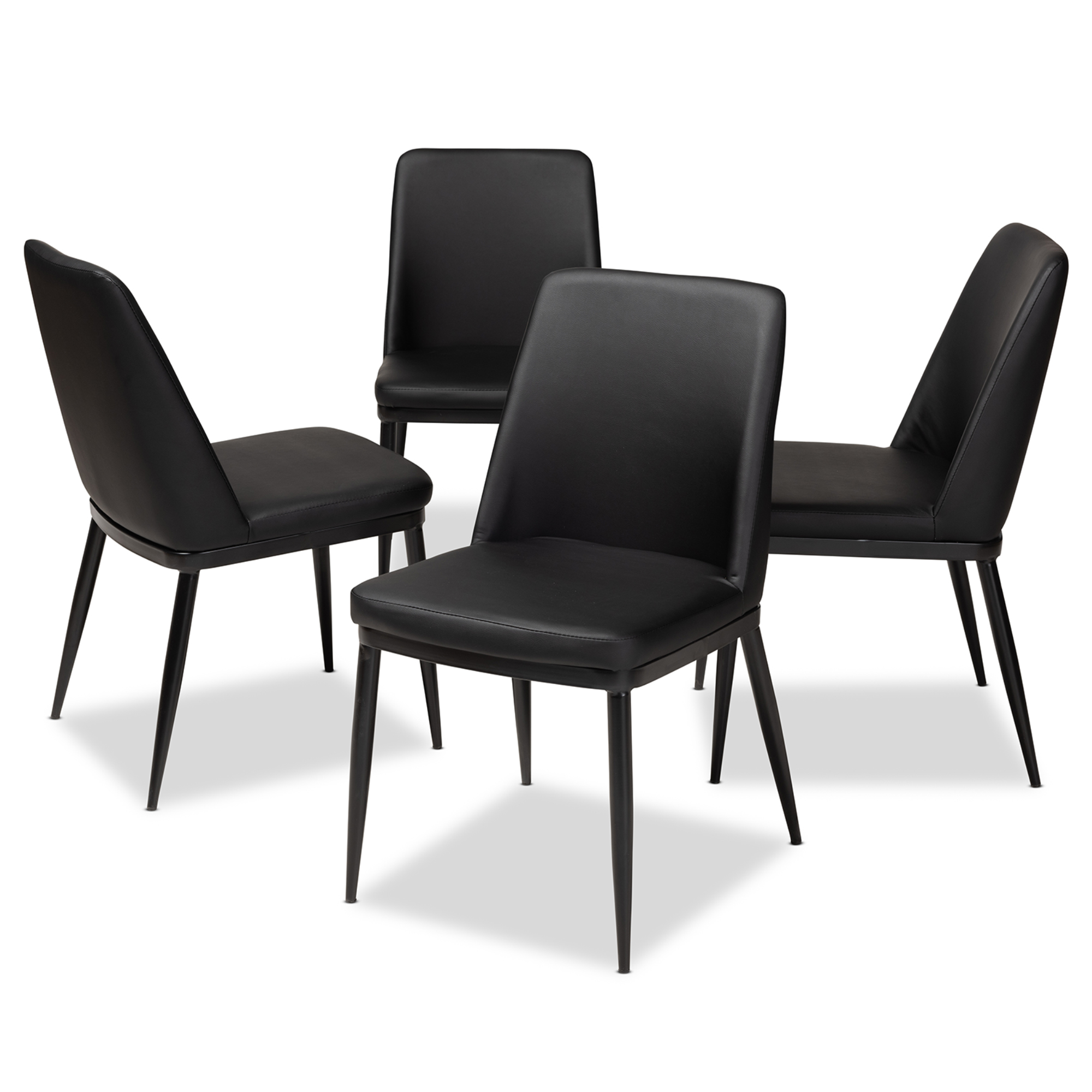 baxton studio darcell modern and contemporary black faux leather upholstered dining chair set of 4. Black Bedroom Furniture Sets. Home Design Ideas
