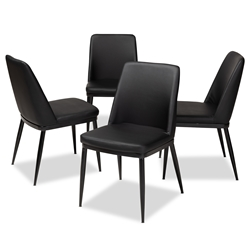 Baxton Studio Darcell Modern and Contemporary Black Faux Leather Upholstered Dining Chair (Set of 4) Affordable modern furniture in Chicago, classic dining furniture, modern chair, cheap dining chairs