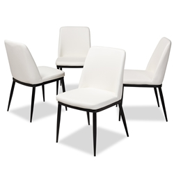 Baxton Studio Darcell Modern and Contemporary White Faux Leather Upholstered Dining Chair (Set of 4) Affordable modern furniture in Chicago, classic dining furniture, modern chair, cheap dining chairs