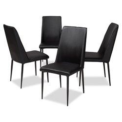 Baxton Studio Chandelle Modern and Contemporary Black Faux Leather Upholstered Dining Chair (Set of 4) Affordable modern furniture in Chicago, classic dining furniture, modern chair, cheap dining chairs