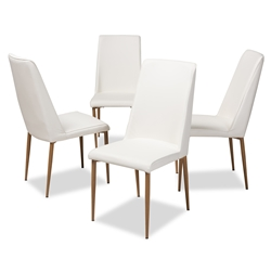 Baxton Studio Chandelle Modern and Contemporary White Faux Leather Upholstered Dining Chair (Set of 4) Affordable modern furniture in Chicago, classic dining furniture, modern chair, cheap dining chairs