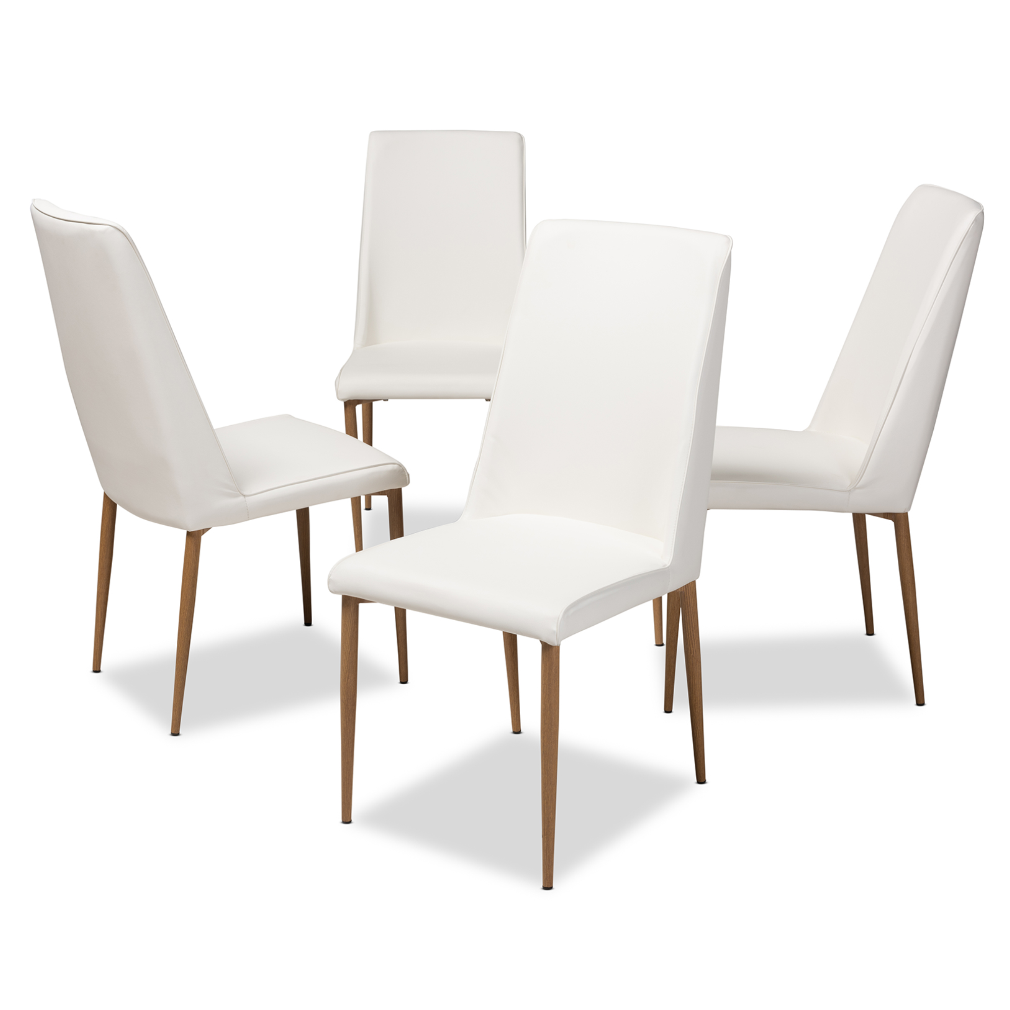 Bon Baxton Studio Chandelle Modern And Contemporary White Faux Leather  Upholstered Dining Chair (Set Of 4