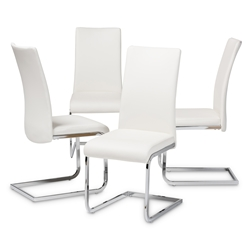 Baxton Studio Cyprien Modern and Contemporary White Faux Leather Upholstered Dining Chair (Set of 4) Affordable modern furniture in Chicago, classic dining furniture, modern chair, cheap dining chairs