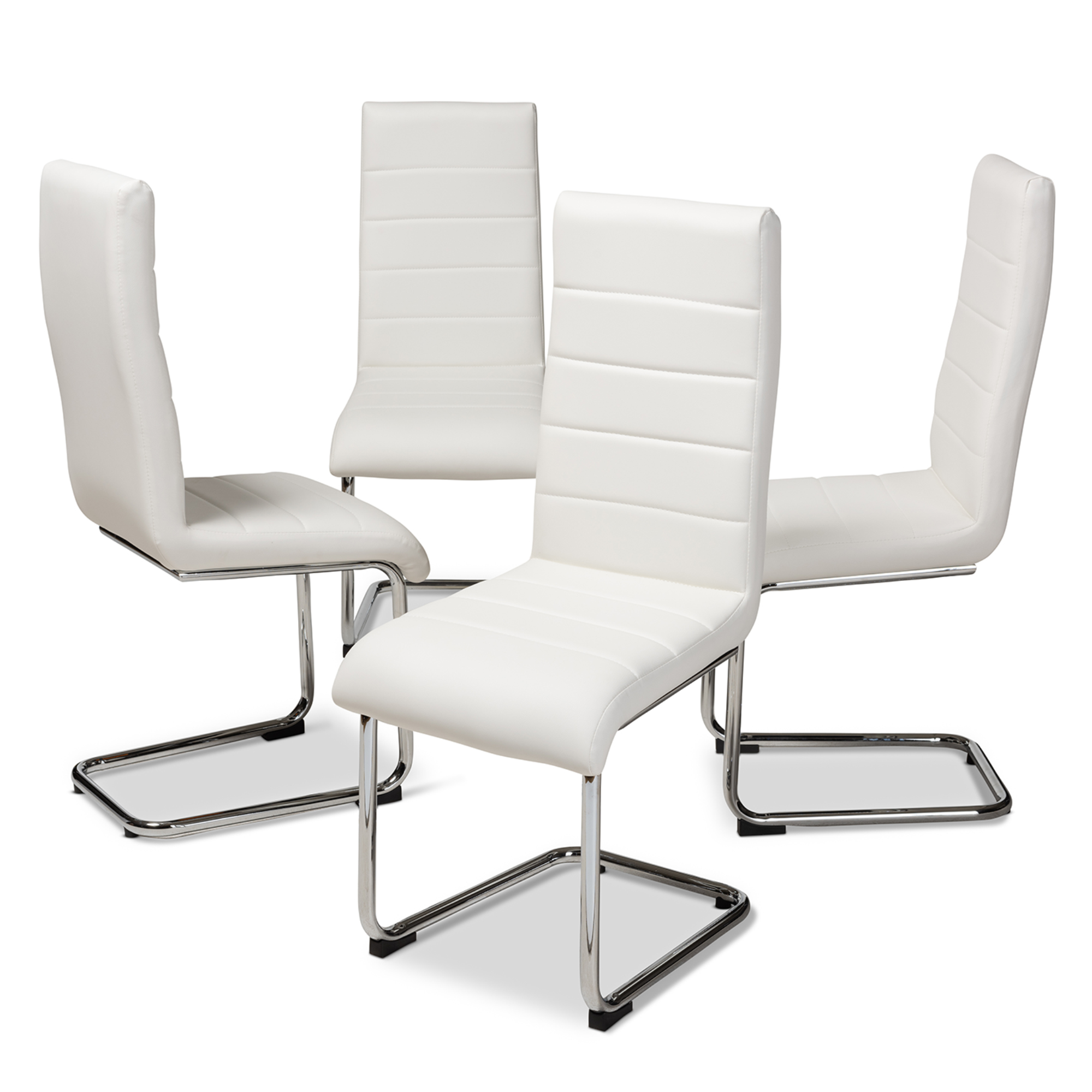 Picture of: Baxton Studio Marlys Modern And Contemporary White Faux Leather Upholstered Dining Chair Set Of 4