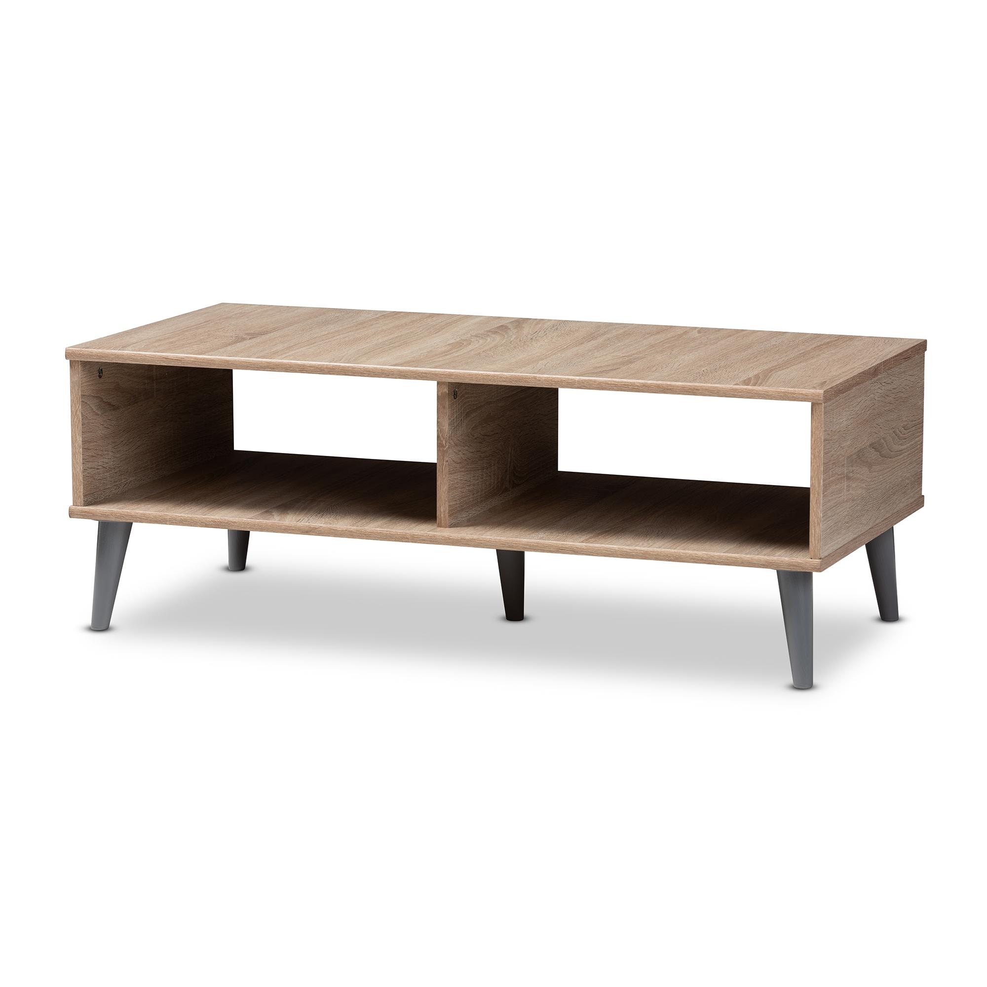 Baxton studio pierre mid century modern oak and light grey finished wood coffee table