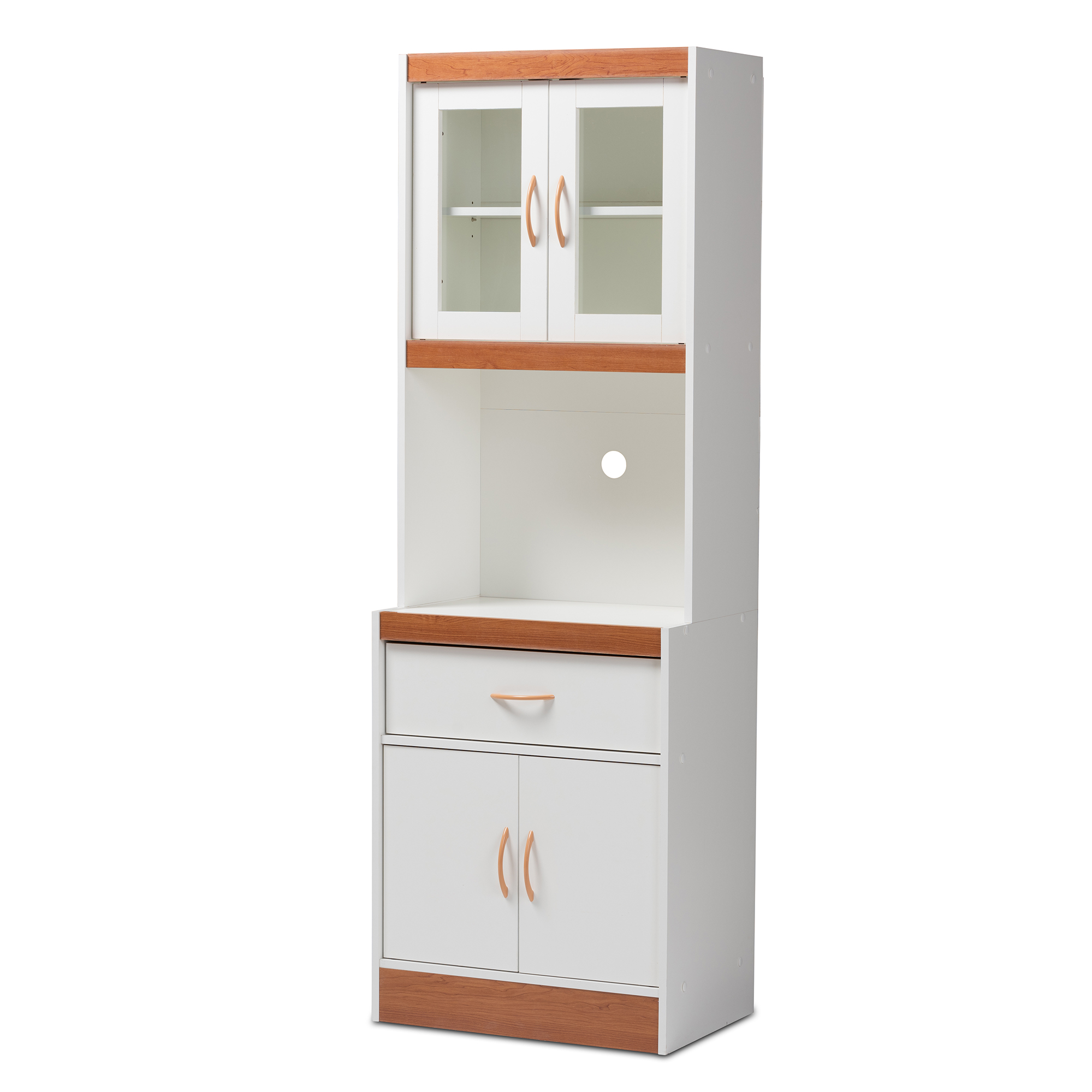 Baxton Studio Laurana Modern And Contemporary White And Cherry Finished  Kitchen Cabinet And Hutch Affordable Modern