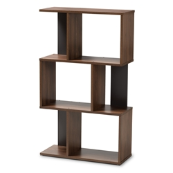 baxton studio legende modern and contemporary brown and dark grey finished display bookcase affordable modern furniture - Affordable Bookshelves