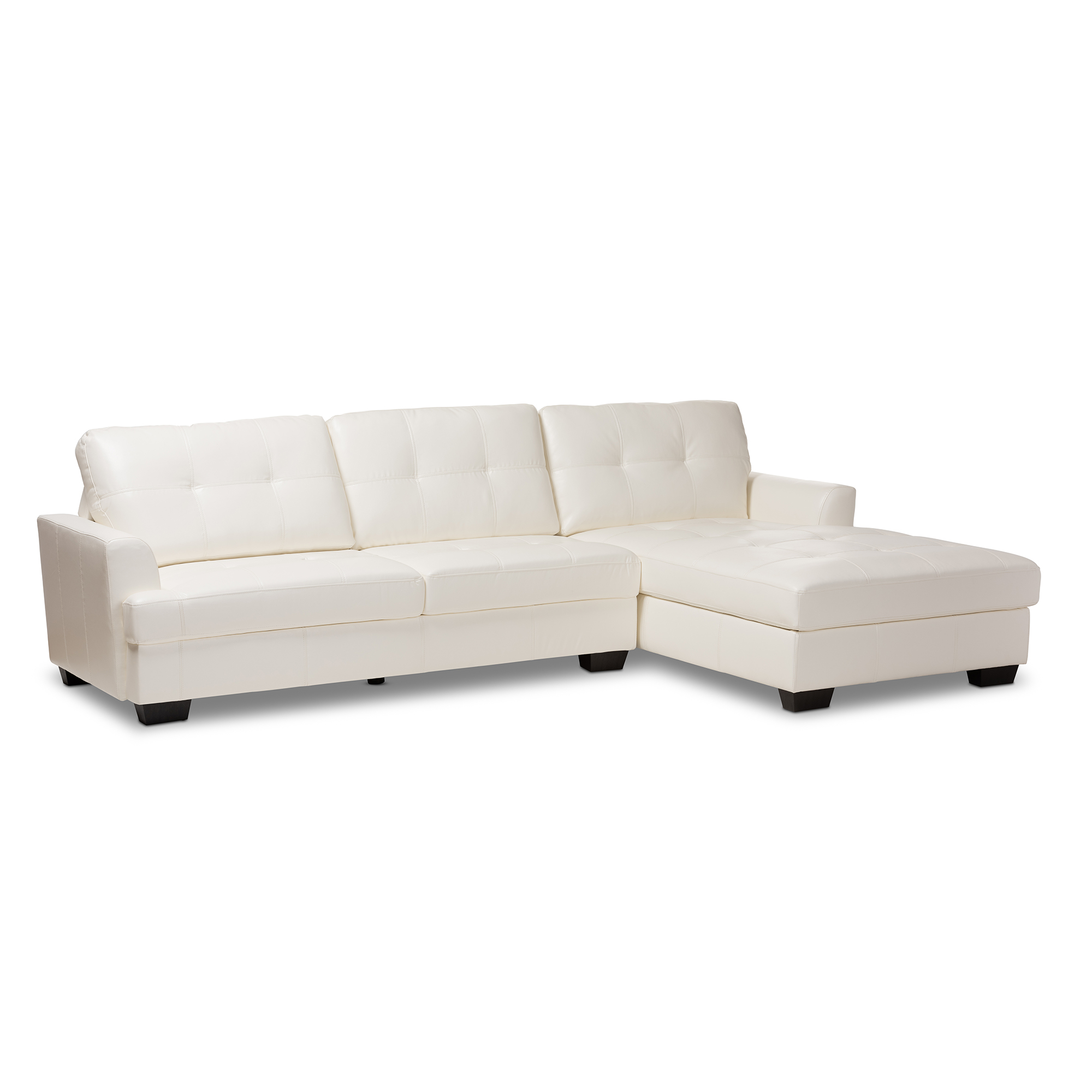 Baxton Studio Adalynn Modern and Contemporary White Faux Leather ...