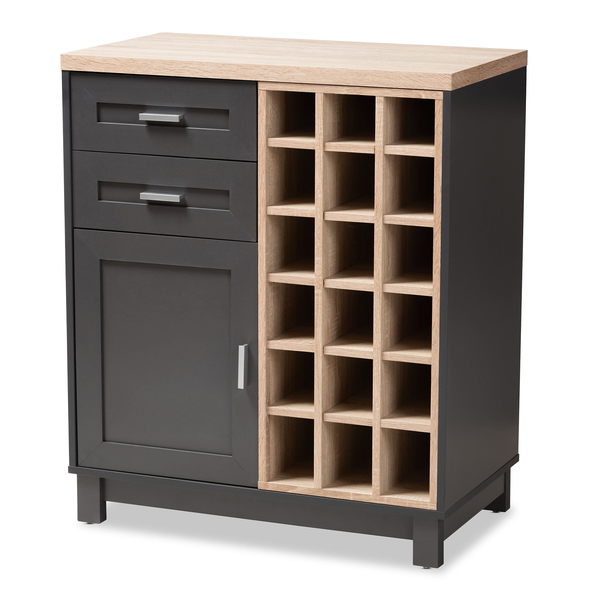 Baxton Studio Maxime Modern And Contemporary Grey And Light Oak Finished Wine  Cabinet Affordable Modern Furniture