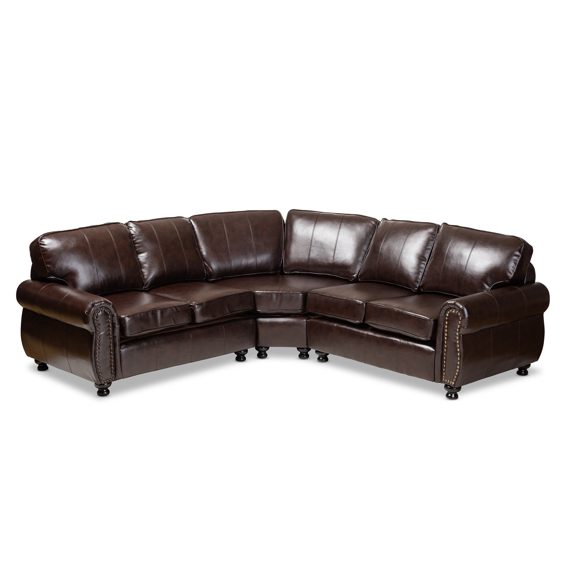 Baxton Studio Hammond Modern And Contemporary Dark Brown Faux Leather Sectional  Sofa Affordable Modern Furniture In