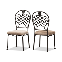 Baxton Studio Hera Rustic Industrial Beige Fabric Upholstered and Black Finished Metal Dining Chair Set of 2 Affordable modern furniture in Chicago, classic dining furniture, modern chair, cheap dining chairs