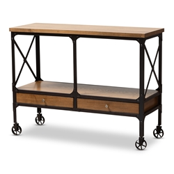 Baxton Studio Alves Vintage Rustic Industrial Style Wood and Dark Bronze Finished Metal Wheeled Console Table with Drawers Affordable modern furniture in Chicago, classic kitchen furniture, modern cart, cheap kitchen carts