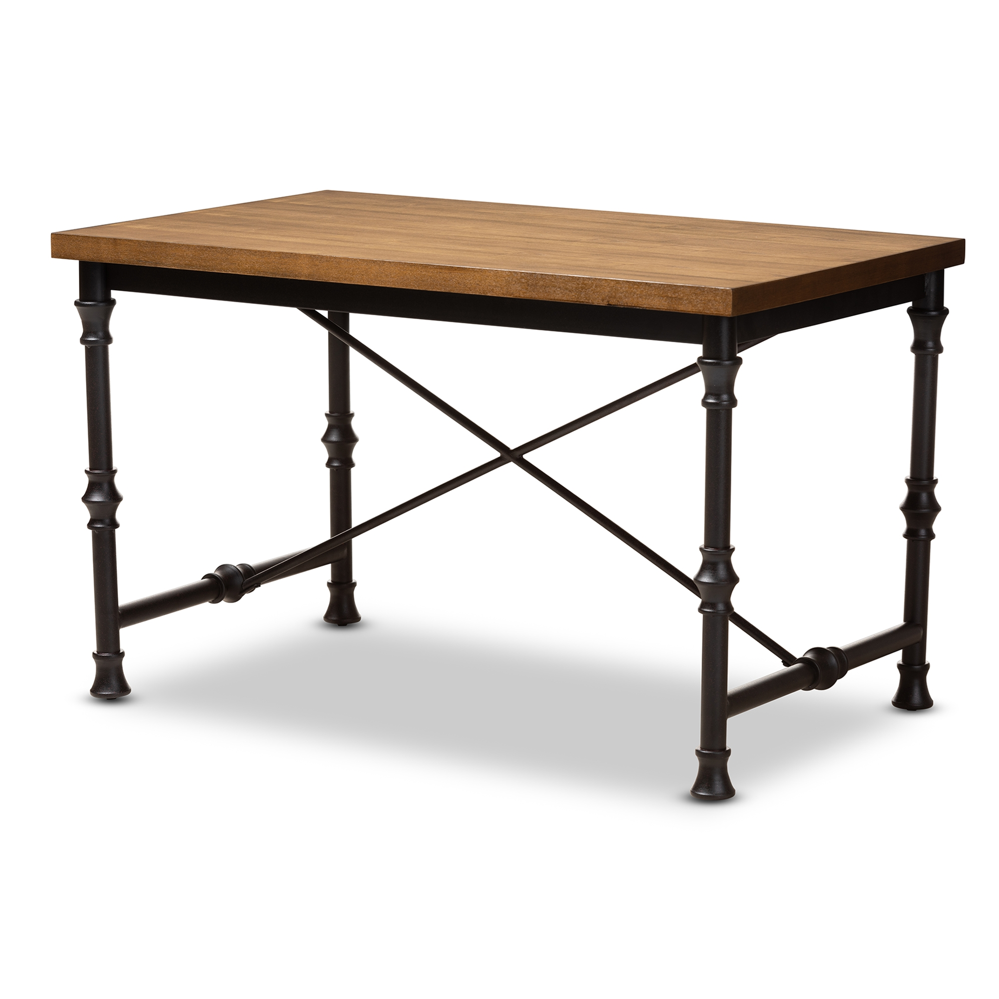 Baxton Studio Verdin Vintage Rustic Industrial Style Wood and Dark Bronze-finished Criss Cross Desk