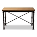 Baxton Studio Verdin Vintage Rustic Industrial Style Wood and Dark Bronze-finished Criss Cross Desk - BSOYLX-4070