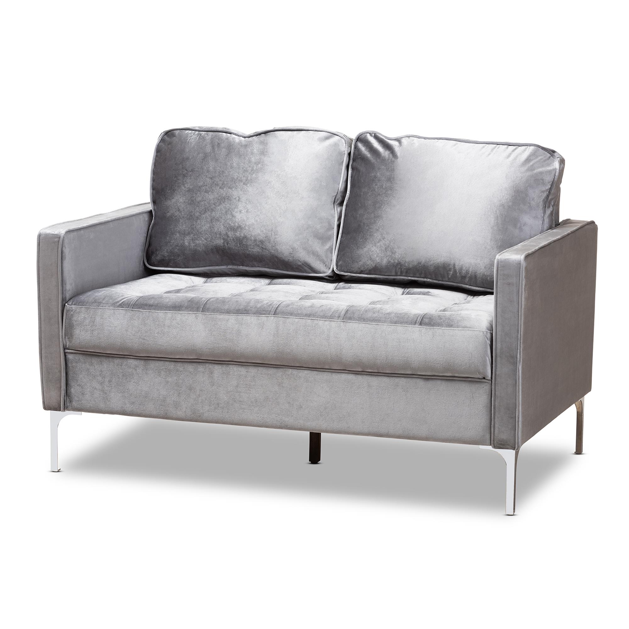 Baxton Studio Clara Modern And Contemporary Grey Velvet Fabric Upholstered 2 Seater Loveseat