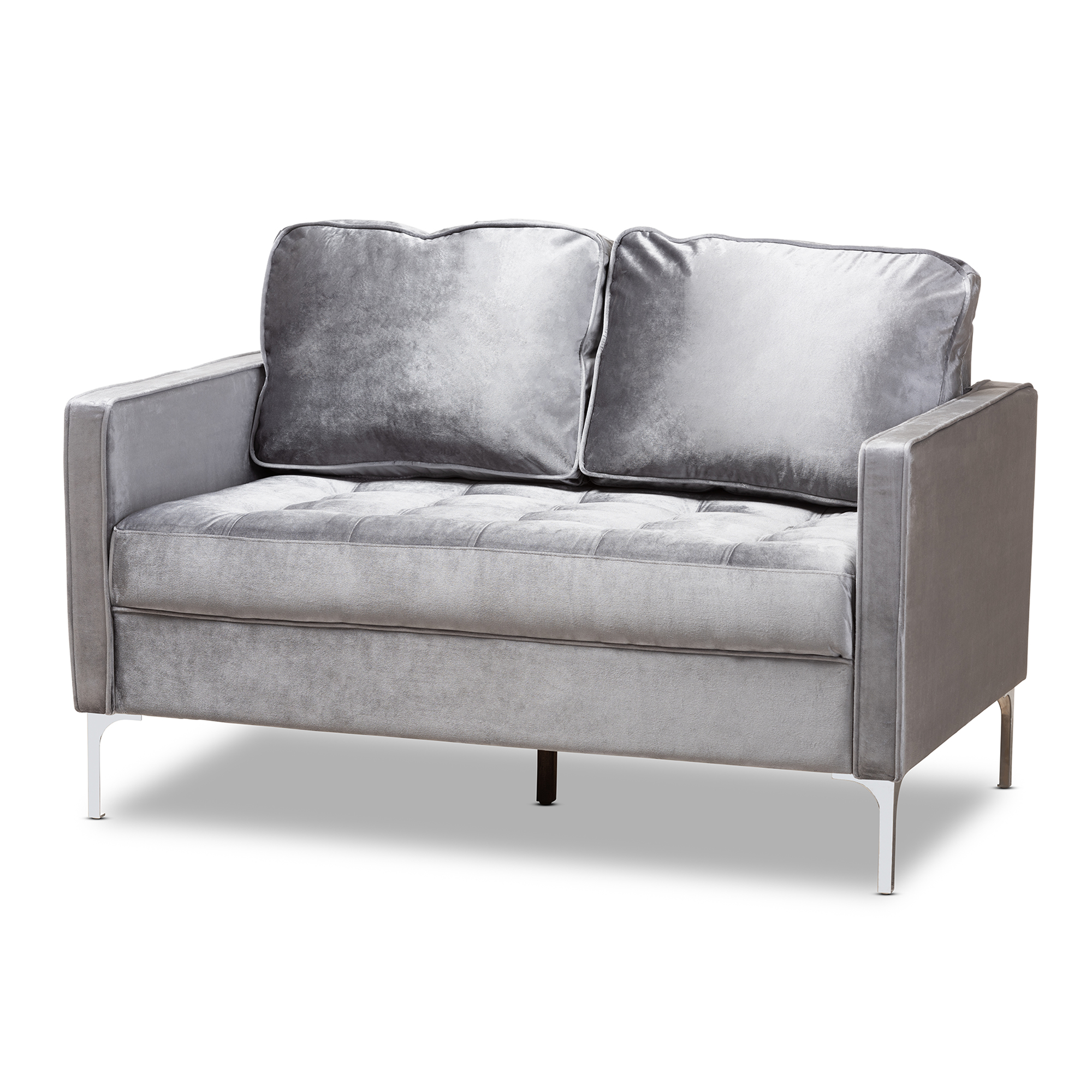 Charmant Baxton Studio Clara Modern And Contemporary Grey Velvet Fabric Upholstered  2 Seater Loveseat Affordable Modern