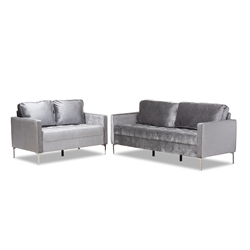 Baxton Studio Clara Modern and Contemporary Grey Velvet Fabric Upholstered 2-Piece Living Room Set Affordable modern furniture in Chicago, classic living room furniture, modern sofa, cheap living room sets