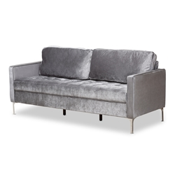 Baxton Studio Clara Modern and Contemporary Grey Velvet Fabric Upholstered 3-Seater Sofa Affordable modern furniture in Chicago, classic living room furniture, modern sofa, cheap sofas