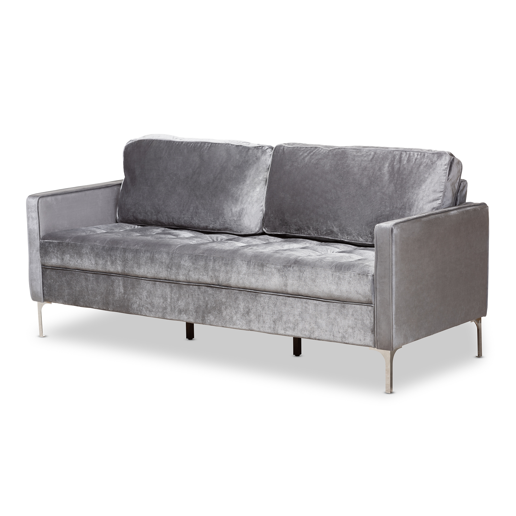 Baxton Studio Clara Modern And Contemporary Grey Velvet Fabric Upholstered  3 Seater Sofa Affordable Modern
