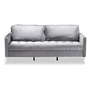 Baxton Studio Clara Modern and Contemporary Grey Velvet Fabric Upholstered 3-Seater Sofa - BSOClara-Grey-SF