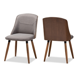 Baxton Studio Arsanio Mid-Century Modern Grey Fabric Upholstered Walnut Wood Finished Dining Chair Set of 2