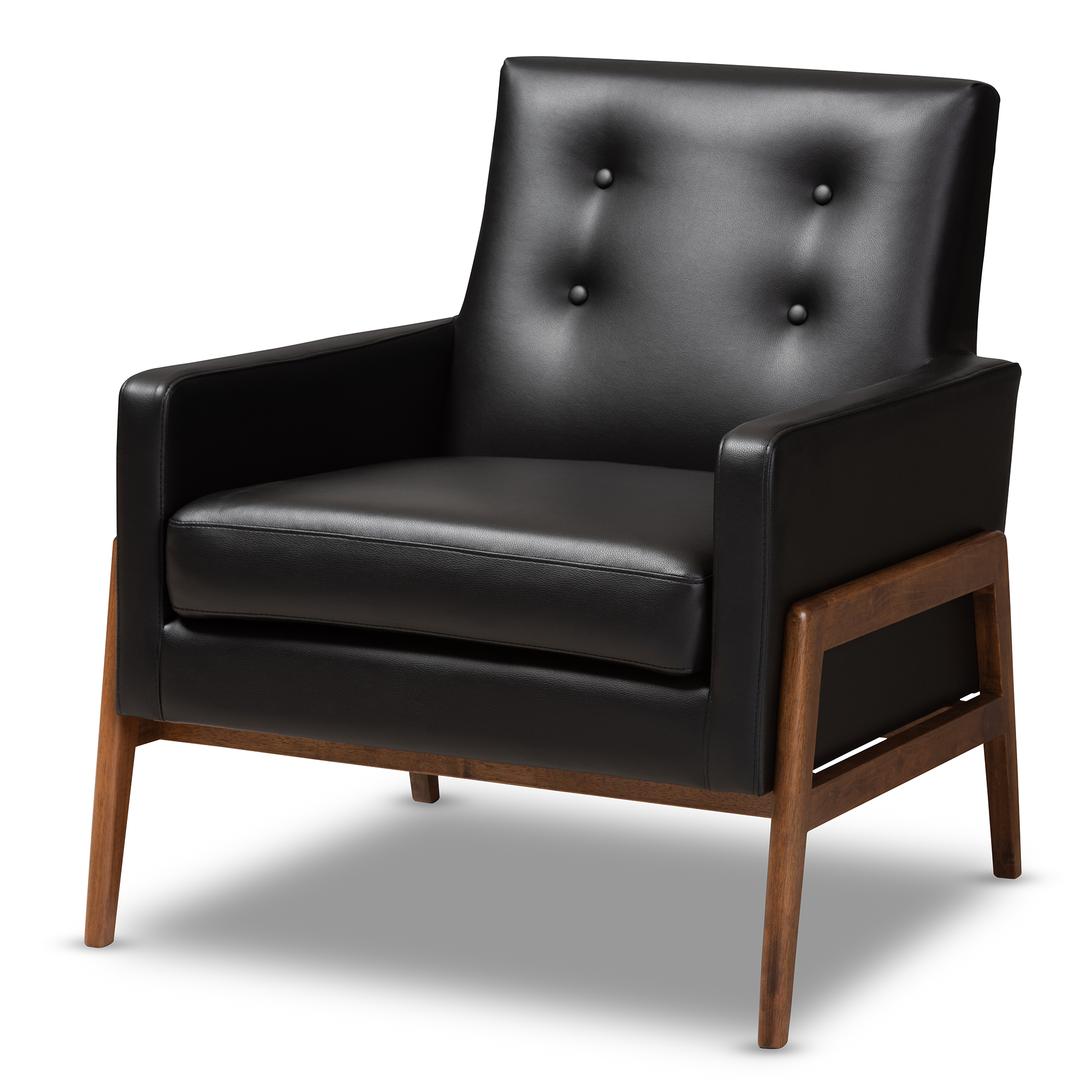 Terrific Baxton Studio Perris Mid Century Modern Black Faux Leather Inzonedesignstudio Interior Chair Design Inzonedesignstudiocom