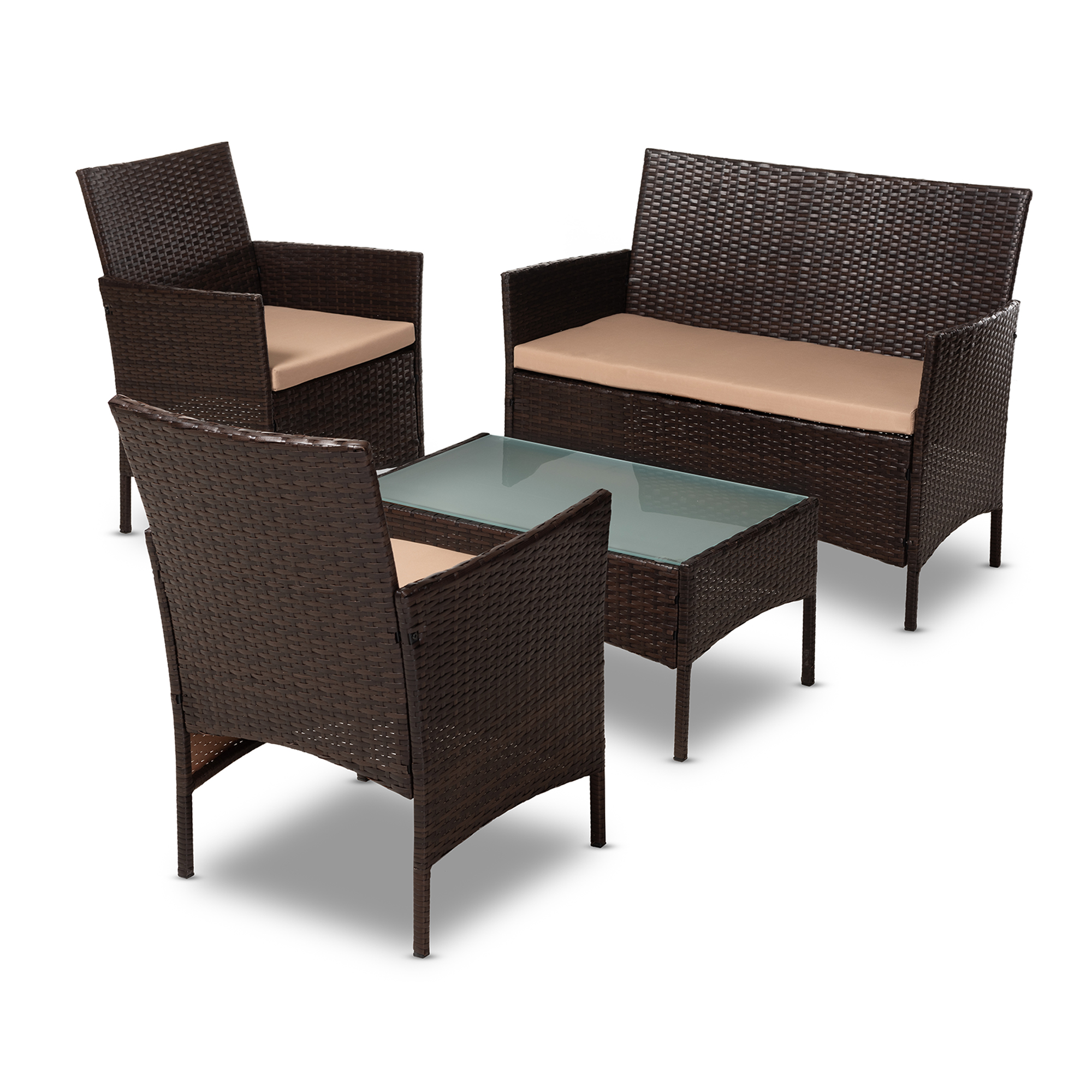 Baxton Studio Alois Modern And Contemporary Beige Fabric Upholstered Dark Brown Rattan 4 Piece Outdoor Patio Lounge Set