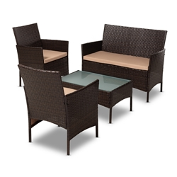 Baxton Studio Alois Modern and Contemporary Beige Fabric Upholstered and Dark Brown Rattan 4-Piece Outdoor Patio Lounge Set Affordable modern furniture in Chicago, classic outdoor furniture, modern patio set, cheap patio sets