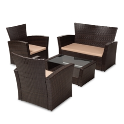 Baxton Studio Verlin Modern and Contemporary Beige Fabric Upholstered and Dark Brown Rattan 4-Piece Outdoor Patio Lounge Set Affordable modern furniture in Chicago, classic outdoor furniture, modern patio set, cheap patio sets