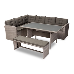 Baxton Studio Eneas Modern and Contemporary Dark Grey Fabric Upholstered and Grey Rattan 3-Piece Outdoor Patio Lounge Corner Sofa Set Affordable modern furniture in Chicago, classic outdoor furniture, modern patio set, cheap patio sets