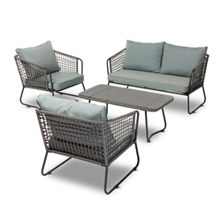 Baxton Studio Emil Modern and Contemporary Sky Blue Fabric Upholstered and Grey Rattan 4-Piece Outdoor Patio Lounge Set Affordable modern furniture in Chicago, classic outdoor furniture, modern patio set, cheap patio sets