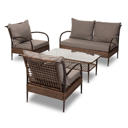 Baxton Studio Tiago Modern and Contemporary Brown Fabric Upholstered and Dark Brown Rattan 4-Piece Outdoor Patio Lounge Set Affordable modern furniture in Chicago, classic outdoor furniture, modern patio set, cheap patio sets