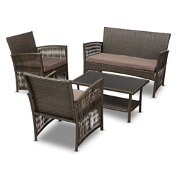 Baxton Studio Valda Modern and Contemporary Brown Fabric Upholstered and Dark Brown Rattan 4-Piece Outdoor Patio Lounge Set Affordable modern furniture in Chicago, classic outdoor furniture, modern patio set, cheap patio sets