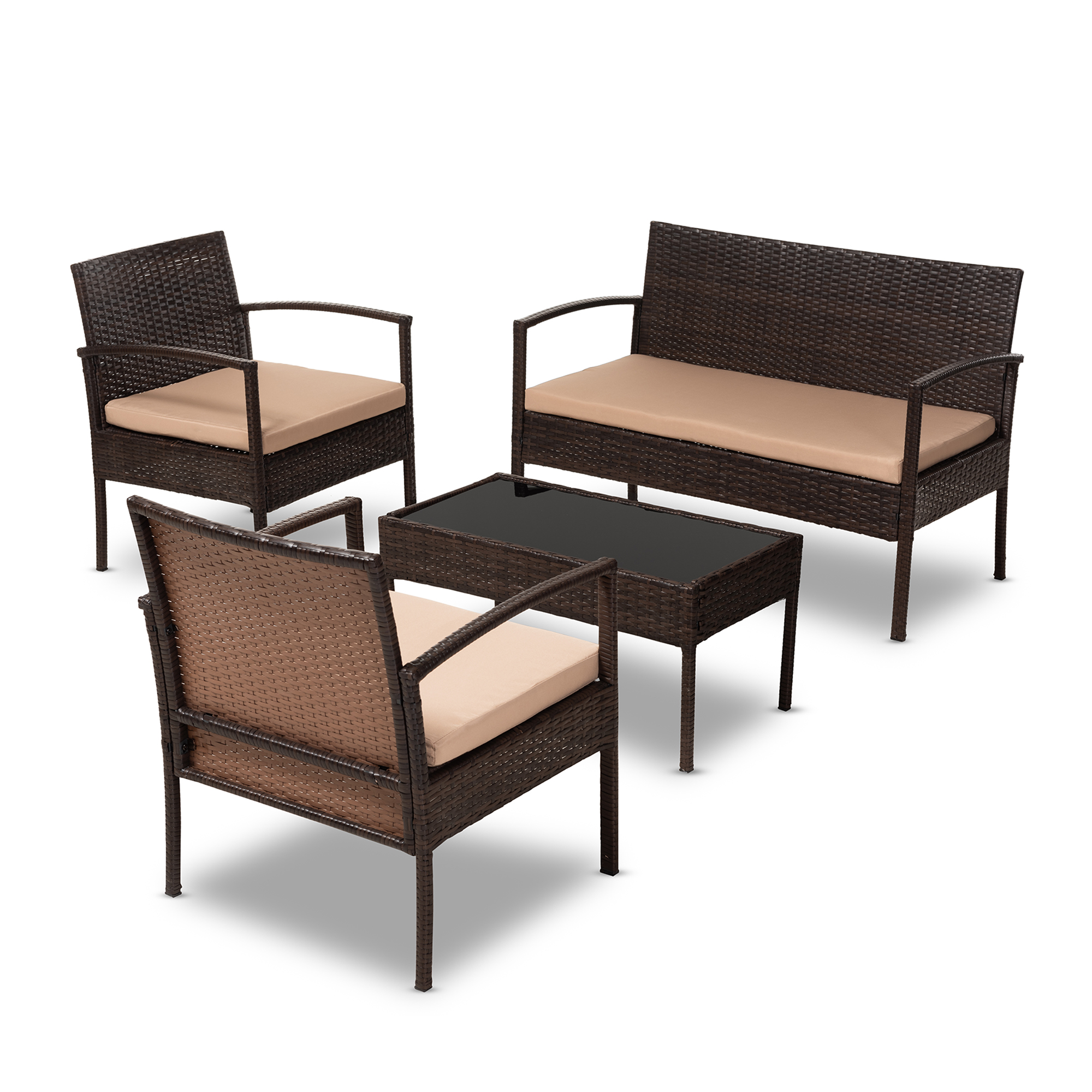 Baxton Studio Aronne Modern And Contemporary Beige Fabric Upholstered Dark Brown Rattan 4 Piece Outdoor Patio Lounge Set