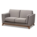 Baxton Studio Sava Mid-Century Modern Grey Fabric Upholstered Walnut Wood 2-Seater Loveseat - BSOBBT8037-Grey-LS