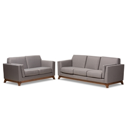 Baxton Studio Sava Mid-Century Modern Grey Fabric Upholstered Walnut Wood 2-Piece Living Room Set Affordable modern furniture in Chicago, classic living room furniture, modern sofa, cheap living room sets