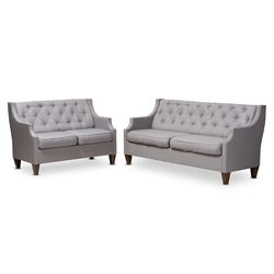 Baxton Studio Celine Modern and Contemporary Grey Fabric Upholstered Button-Tufted 2-Piece Living Room Set Affordable modern furniture in Chicago, classic living room furniture, modern sofa, cheap living room sets