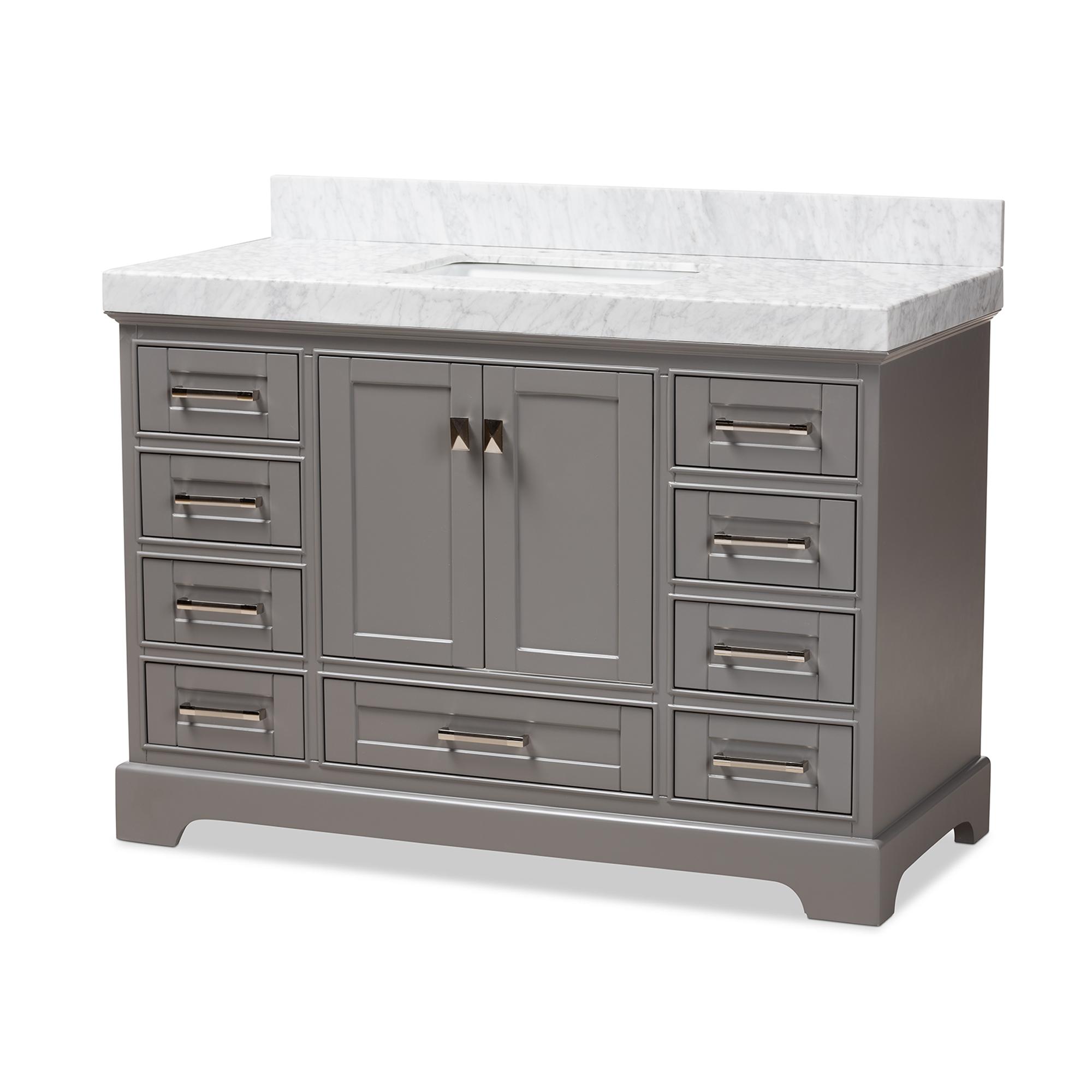 Baxton Studio Amaris 48 Inch Transitional Grey Finished Wood And Marble Single Sink Bathroom Vanity