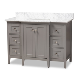 Baxton Studio Murray 48-Inch Transitional Grey Finished Wood and Marble Sink  Bathroom Vanity Affordable modern furniture in Chicago, classic bathroom furniture, modern vanities, cheap vanities