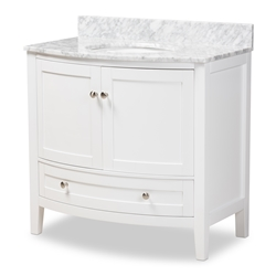 Baxton Studio Nicole 36-Inch Transitional White Finished Wood and Marble Single Sink Bathroom Vanity Affordable modern furniture in Chicago, classic bathroom furniture, modern vanities, cheap vanities