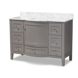 Baxton Studio Nicole 48-Inch Transitional Grey Finished Wood and Marble Single Sink Bathroom Vanity Affordable modern furniture in Chicago, classic bathroom furniture, modern vanities, cheap vanities