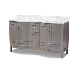 Baxton Studio Nicole 60-Inch Transitional Grey Finished Wood and Marble Double Sink Bathroom Vanity Affordable modern furniture in Chicago, classic bathroom furniture, modern vanities, cheap vanities